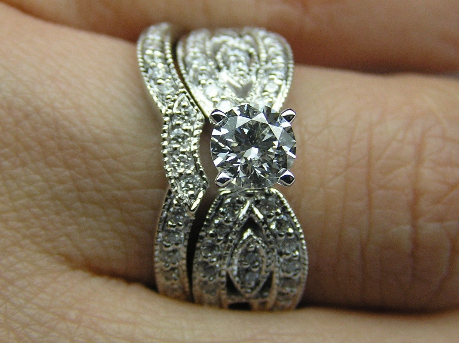 custom made round diamond butterfly engagement ring matching wedding band bridal set in 14k white - Butterfly Wedding Rings