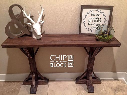 Custom Made Custom Cypress Entry Table With Rustic Finish