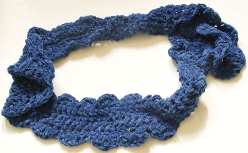 Custom Made Crochet Chenille Scarf With Scalloped Edge