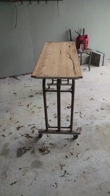 Custom Made Metal Hospital Tray Meal Table On Wheels, Also Used As A Desk,