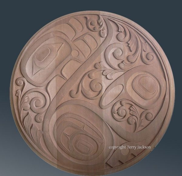 Handmade carved red cedar wall art panel relief northwest coast