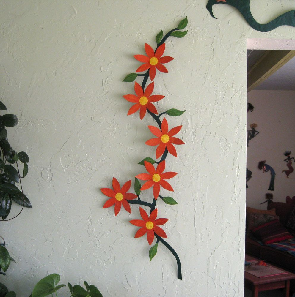 Hand Made Metal Flower Sculpture Home Decor Wall Kitchen