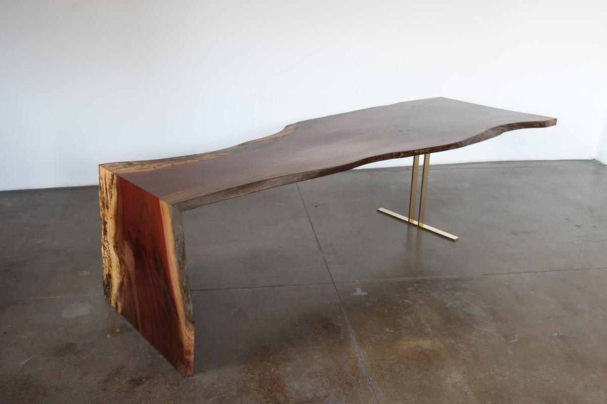 Handmade Indonesian Ingas Live Edge Waterfall Dining Table