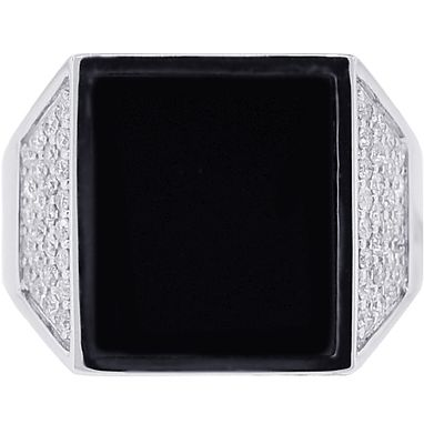 Custom Made 18k White Gold 0.70 Ct Diamond Onyx Mens Trapezoid Ring