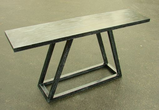 Custom Made Ebonized Oak Console Table With White Ceruse Finish
