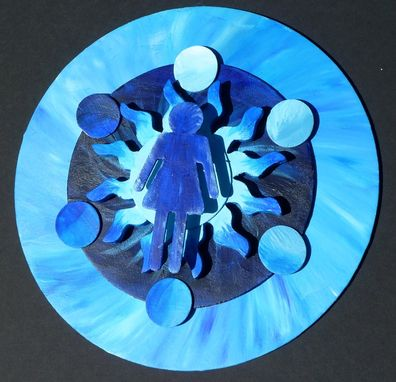 Custom Made Bright Colorful Icy Sun Circles With Woman Mixed Media Art Wall Decor