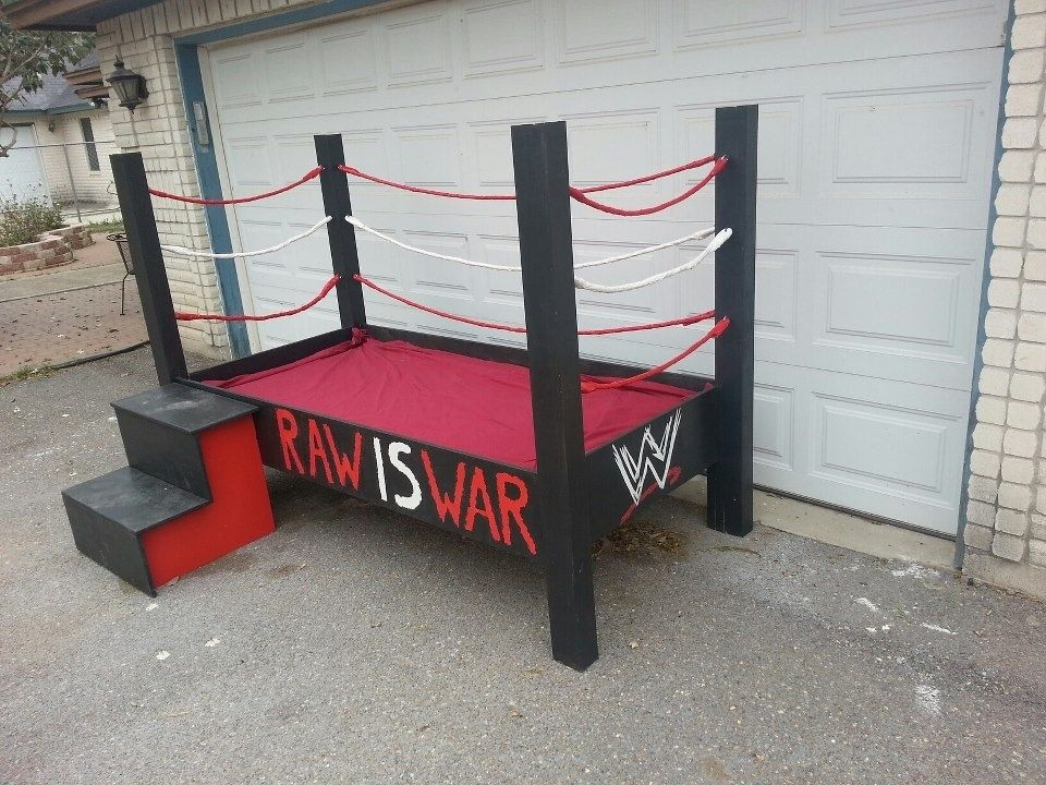 hand crafted wrestling ring bed by mikes custom woodwork custommadecom - Wrestling Bedroom Decor