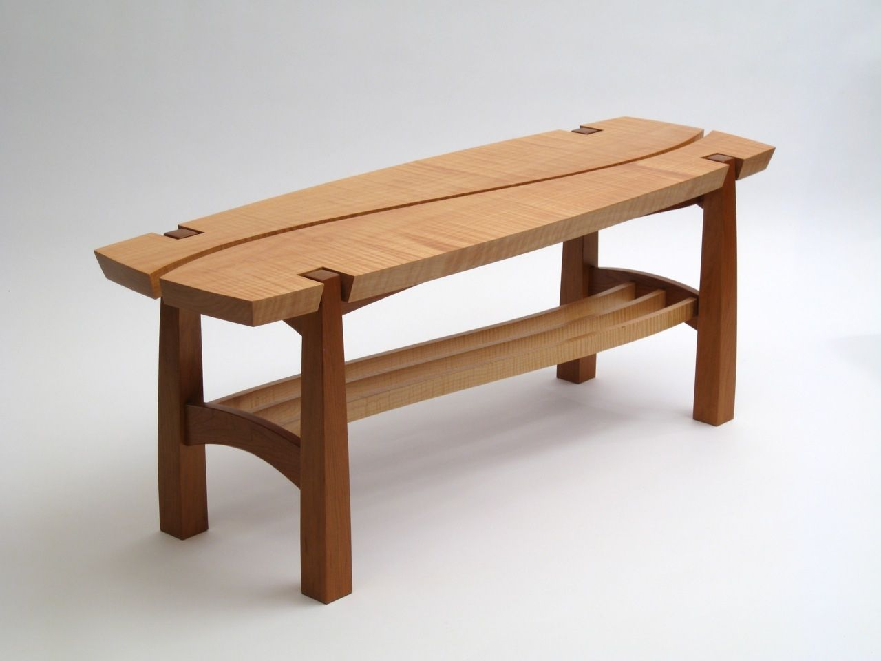 Custom Curly Maple And Cherry Bench By Dogwood Design