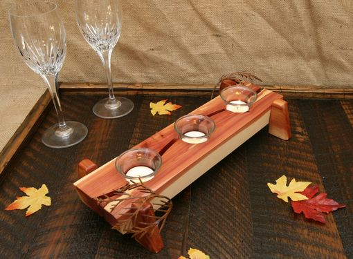 Custom Made Modern Rustic Decor Table Centerpiece Wood Tealight Votive Candle Holder With Metal Leaves