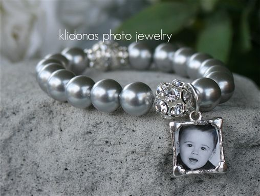Custom Made Double-Sided Photo Bracelet With Silver Pearls And Rhinestone Accents
