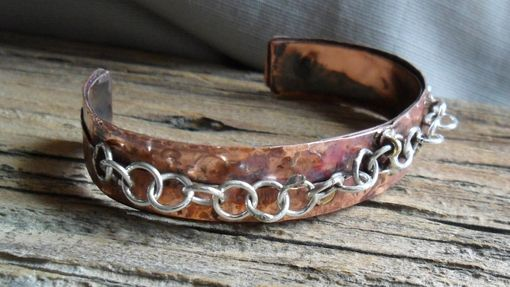 Custom Made Copper Cuff Bracelet With Sterling Silver Chain