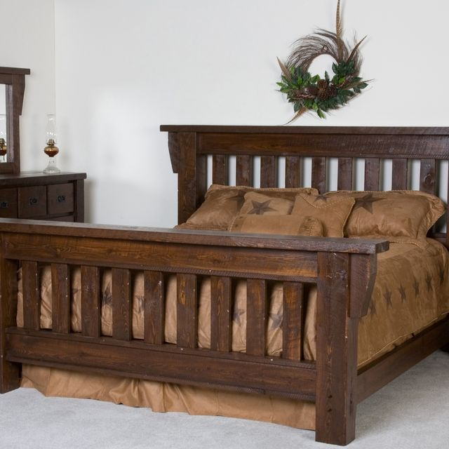Hand Crafted Timberwood Barnwood Bed Frame By Viking Log Furniture