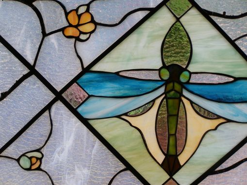 Custom Made Stained Glass Panel Dragonfly With Branches