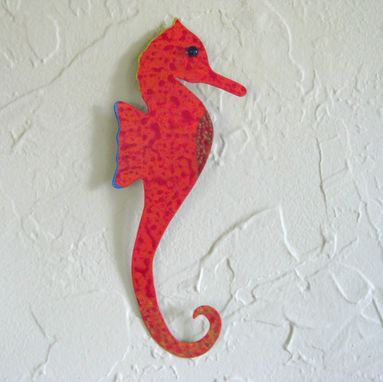 Custom Made Handmade Upcycled Metal Red Orange Seahorse Wall Art Sculpture