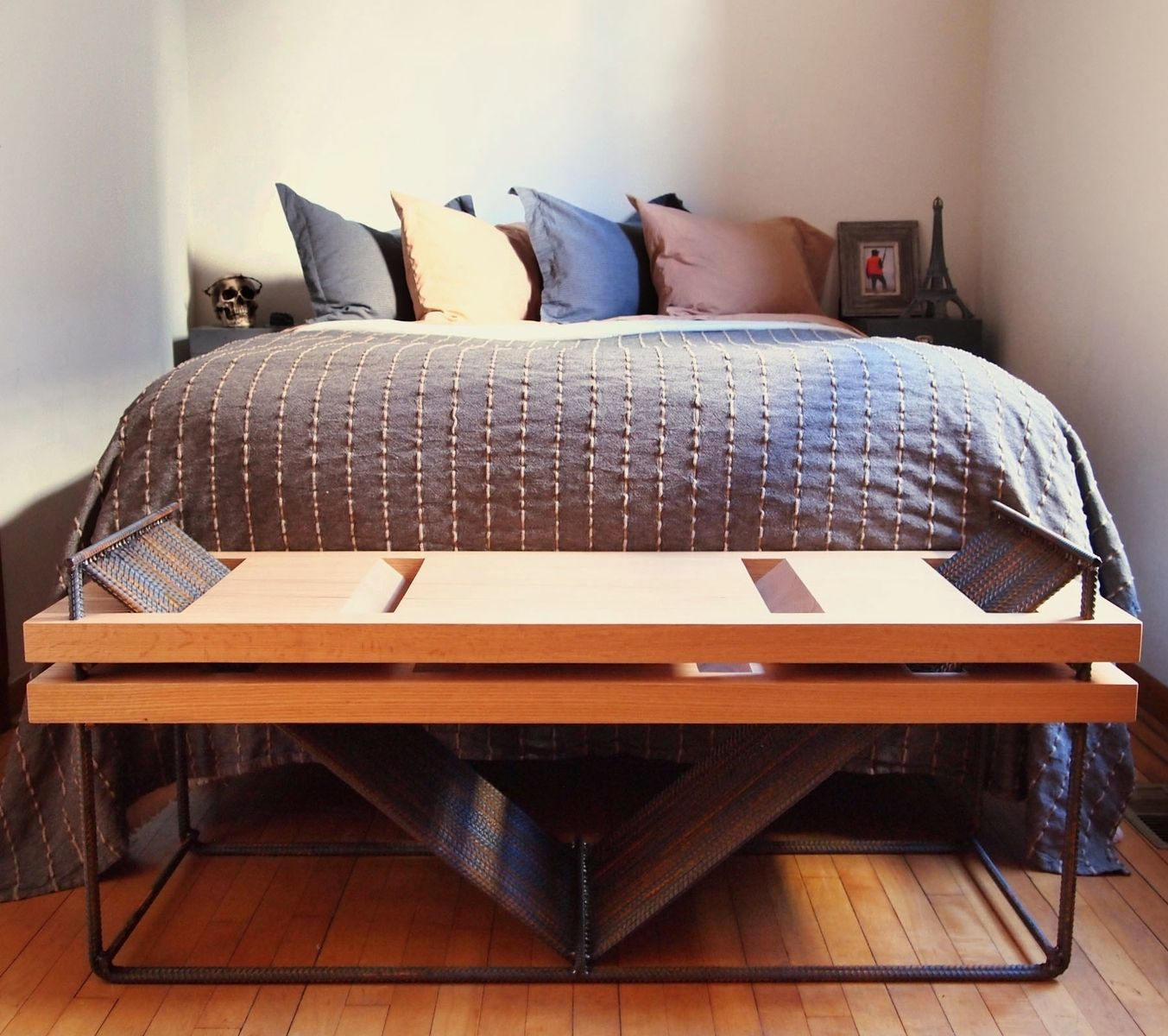 Hand Made Rebar And Red Oak Bench by SOLO Home Design | CustomMade.com