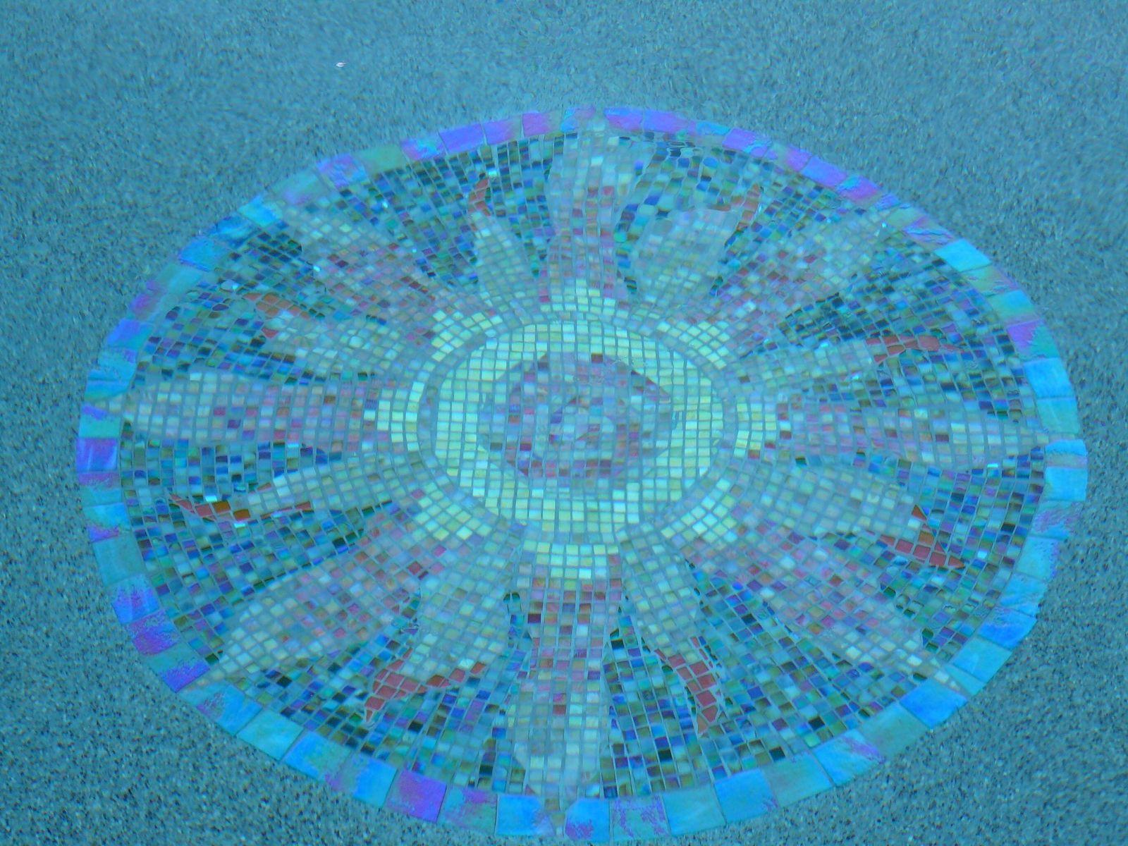 Handmade pool mosaic iridized glass mandala by all fired for Pool mosaic designs