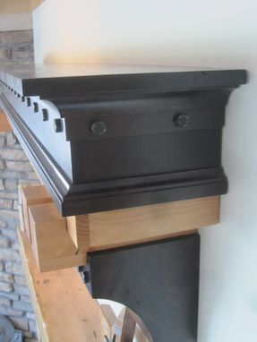 Custom Made Fireplace Mantel Craftsman Era Two Toned Finish With Exposed Steel Bolts