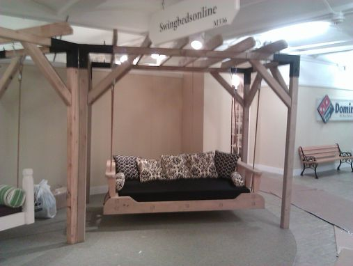 Custom Made 1800'S Swing Beds(Tm) Bed Swing Made In Kiln Dried Cypress Wood