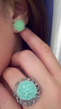 Custom Made Sale Mint Julep Chrysanthemum Post Earrings, Ready To Ship, Buy 2 Get 1 Free