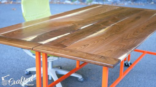 Custom Made Walnut And Steel Conference Table