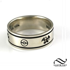 custom pokemon wedding band by austin moore - Handmade Wedding Rings