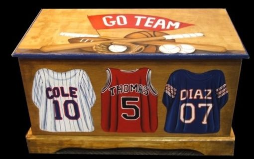 Custom Made Wooden Sports Jersey Toy Box Custom Designed With Your Sport