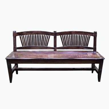 Custom Made Reclaimed Antique Oak Rustic Spindle Back Bench
