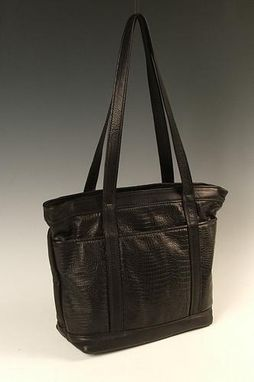 Custom Made Small Black Leather Tote Bag
