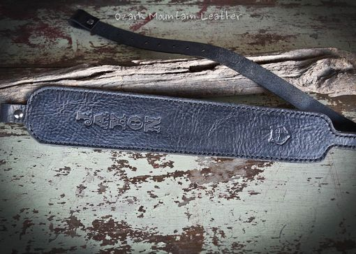 Custom Made Custom Black Leather Rifle Sling Or Gun Sling With Name Or Initials