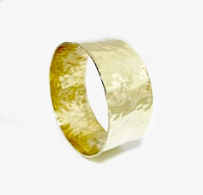 Custom Made Wide Gold Bangle Bracelet - Brass Cuff - Hammered Faux Gold Bangle - Fake Gold - Fashion Bracelet