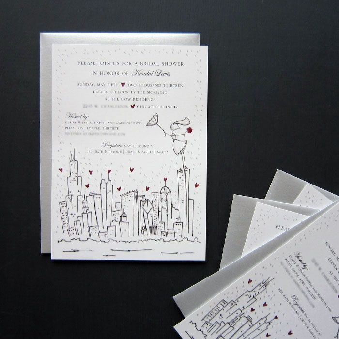 Personalized Skyline Wedding Invitations: Hand Made Custom Bridal Shower Invitations- Chicago