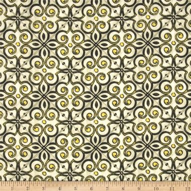 Custom Made Waverly Interlocked Geometric Medallion In Green Tea Citron Blue Tan Curtains 63l X 50w