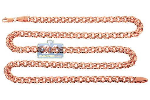 Custom Made Handmade 14k Rose Gold Flat Bismark Link Mens Chain 7 Mm 30 Inches