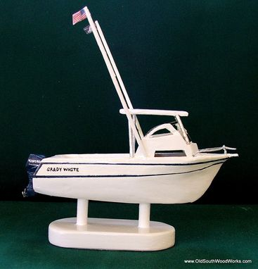 Hand Made Grady White 272 Sailfish Wooden Boat Model by Old
