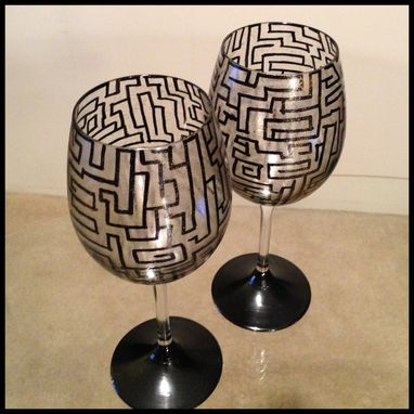 Custom Made Hand Painted Wine Glasses. Black Abstract Design With Gold Cast.
