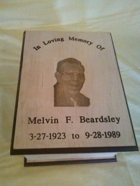 Custom Made Maple Cremation Urn With A Photo Engraved In The Wood