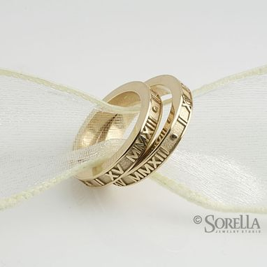 Custom Made Personalized Stackable Roman Numeral Band In 14k Gold