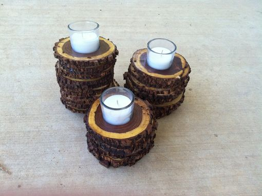 Custom Made Mesquite Wood Candle Holders - Set Of 3