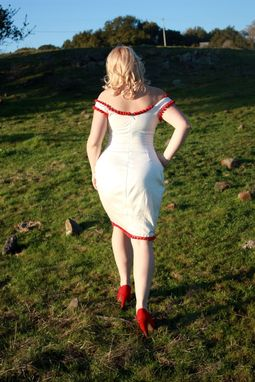 Custom Made Custom Couture Marilyn Monroe Wiggle Dress In Cotton Sateen With Pom Pom Trim Made To Order