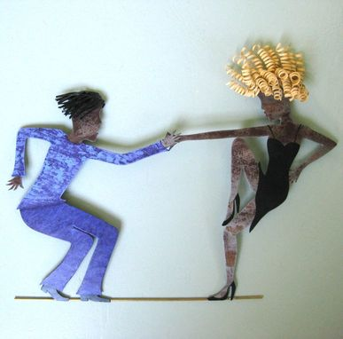 Custom Made Handmade Upcycled Metal Jazz Dancers Wall Art Sculpture