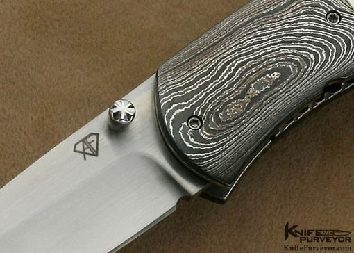 Custom Made Aaron Fredrick Custom Knife Mother Of Pearl Shell & Sole Authorship Damascus Linerlock