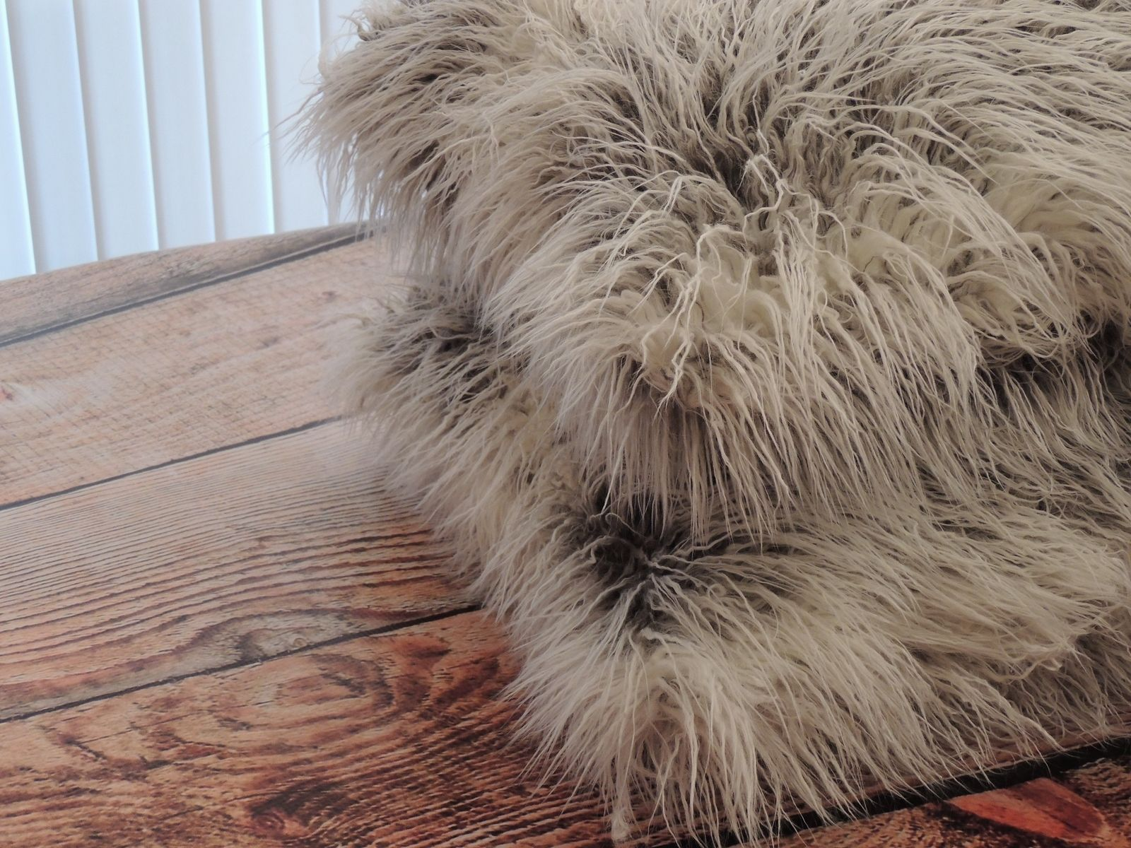 Hand Made Curly Llama Ivory Grey Faux Fur 18 X 18 In