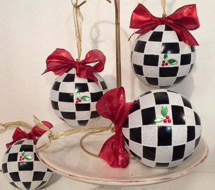 Custom Made Christmas Tree Ornament // Whimsical Painted Ornament Checks // Black And White Ornament