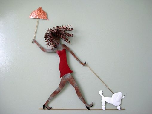 Custom Made Lady Walking Dog - Upcycled Metal Wall Sculpture Poodles Dachshunds Chihuahua Lab