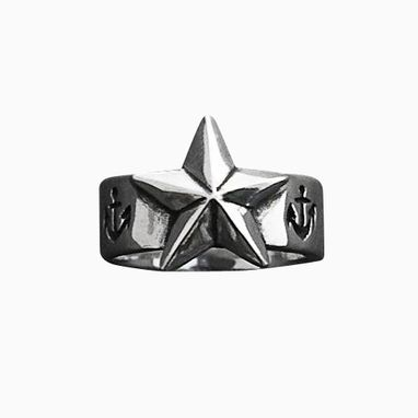 Custom Made New Nautical North Star Hand Carved Sterling Silver Ring