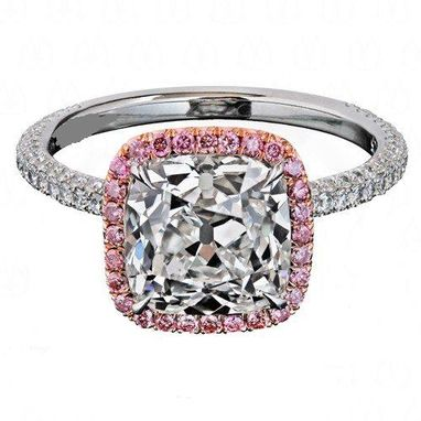 Custom Made Pink Sapphire Halo And Antique Cushion Cut Diamond In 14kt Rose And White Gold