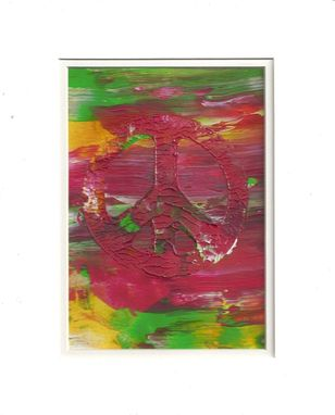 "Custom Made Abstract Acrylic Painting On White Mat ""Peace Hippie''"