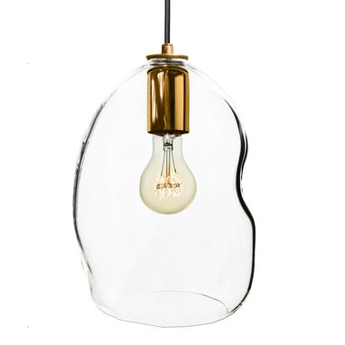 Custom Made Bubble Clear Hand Blown Glass Pendant Light- Brass