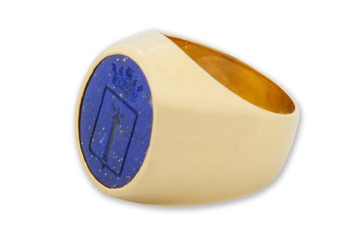 Custom Made Lapis And 14k Gold Noble Family Signet Ring