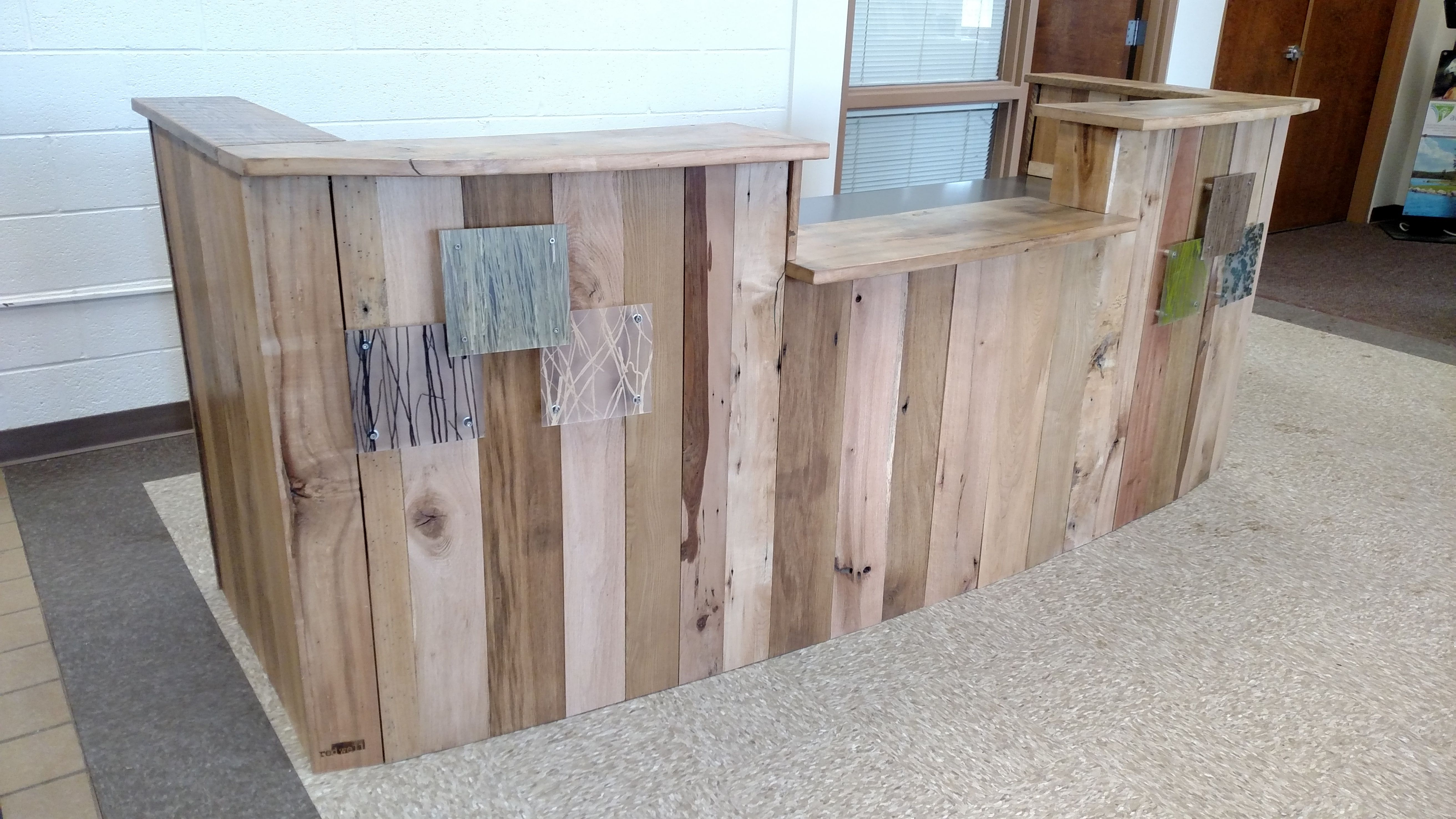 Reclaimed Wood And Steel Reception Desk